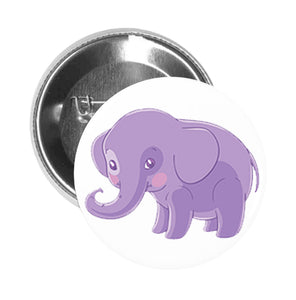 Round Pinback Button Pin Brooch Sweet Kids Nursery Pastel Elephant Cartoon - Purple