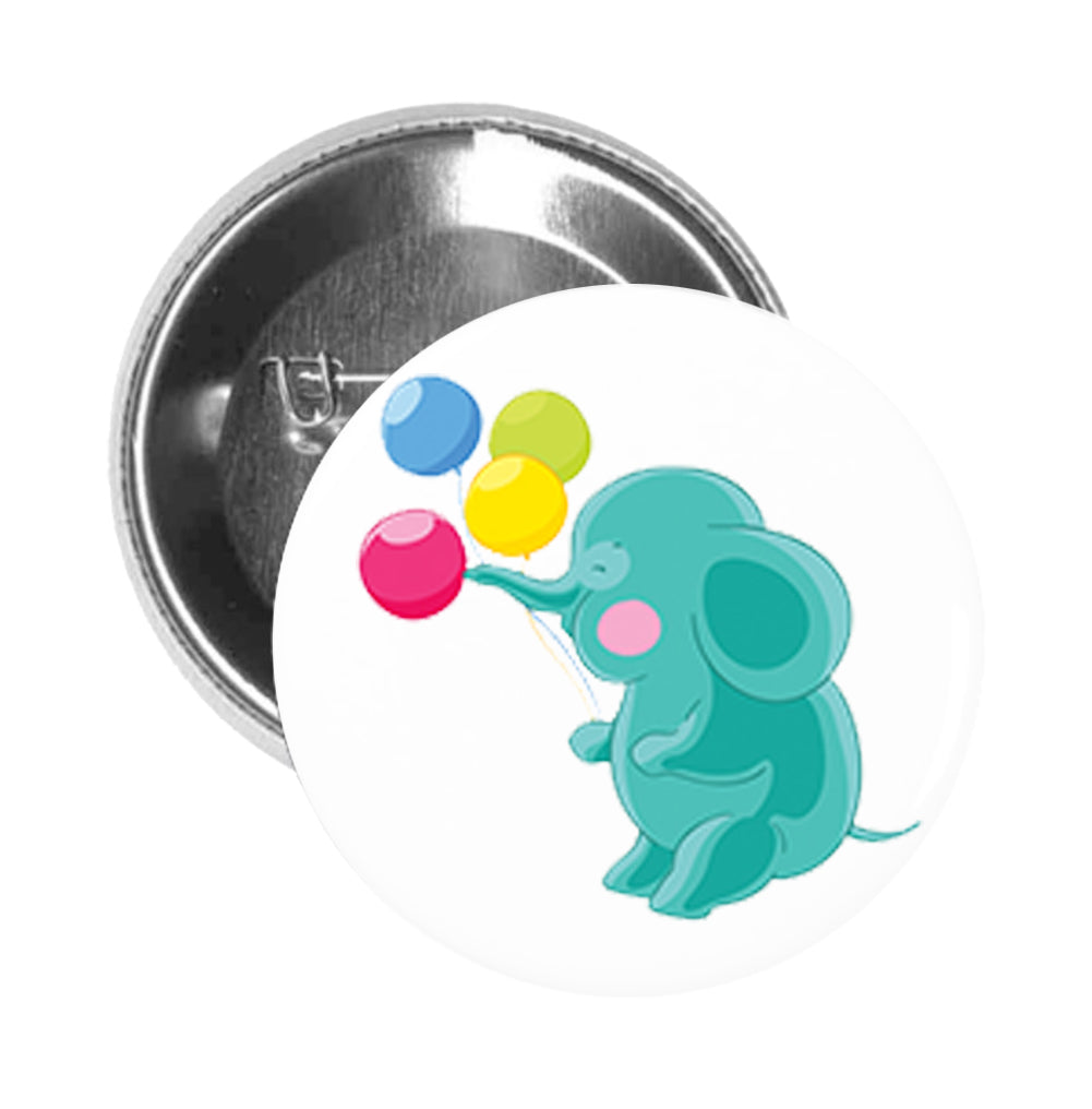Round Pinback Button Pin Brooch Sweet Kids Nursery Pastel Elephant Cartoon - Teal with Balloons
