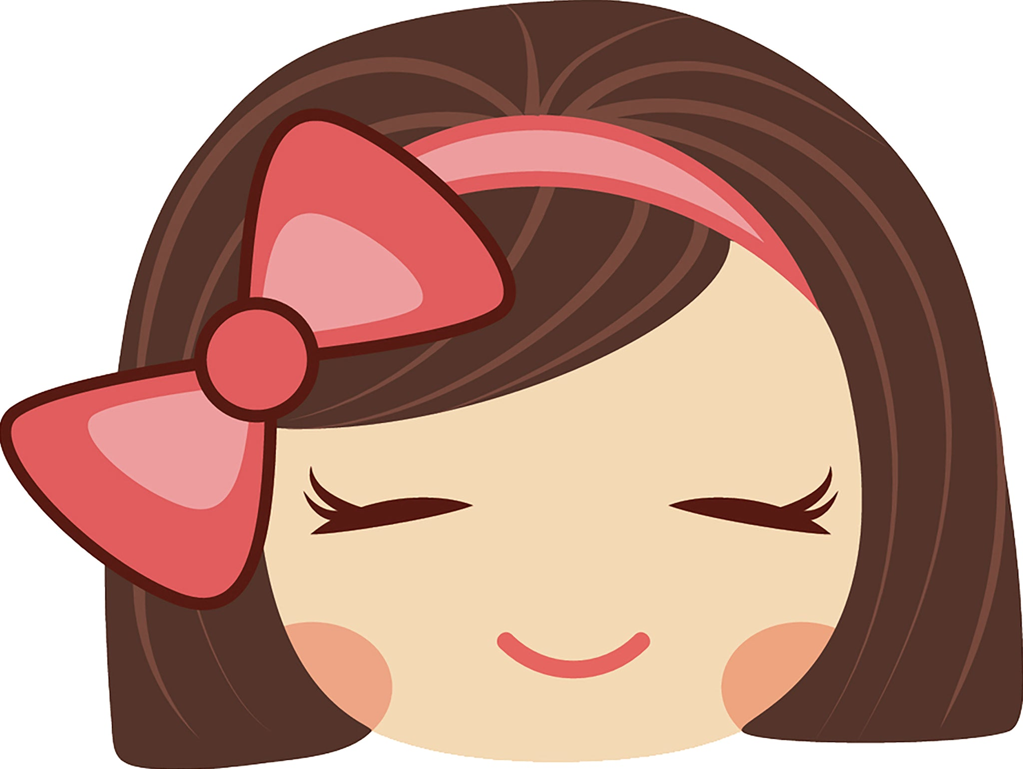 Sweet Little Kawaii School Girl with Pink Bow Emoji #2 Vinyl Decal Sticker