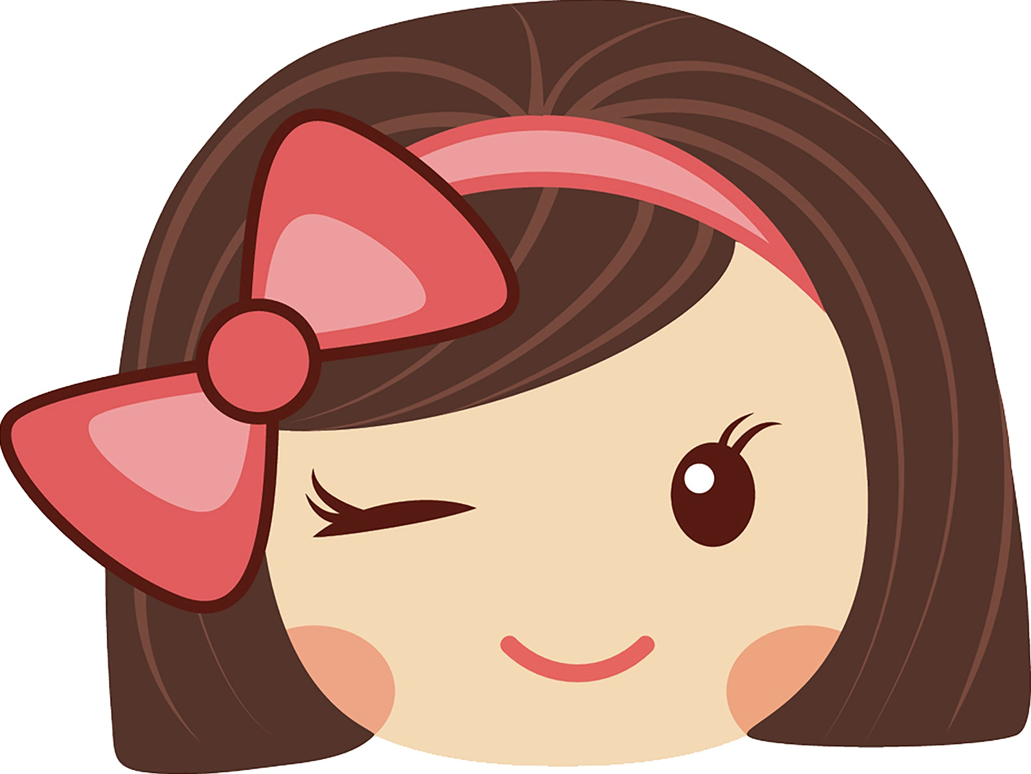 Sweet Little Kawaii School Girl with Pink Bow Emoji #6 Vinyl Decal Sticker
