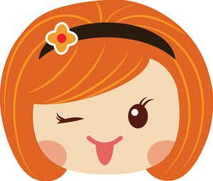Sweet Little Red Head Kawaii School Girl Emoji #12 Vinyl Decal Sticker