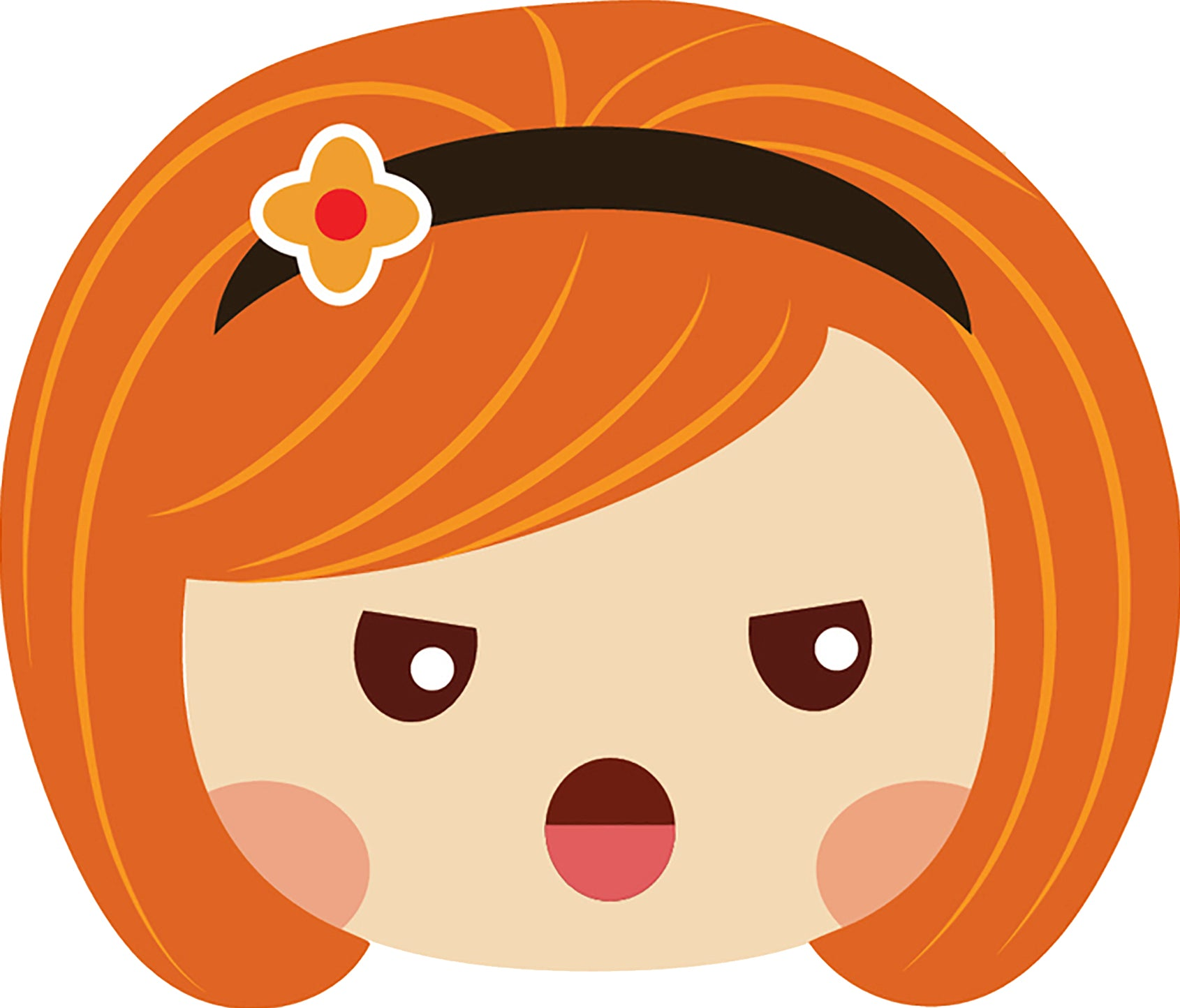 Sweet Little Red Head Kawaii School Girl Emoji #3 Vinyl Decal Sticker