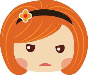 Sweet Little Red Head Kawaii School Girl Emoji #5 Vinyl Decal Sticker