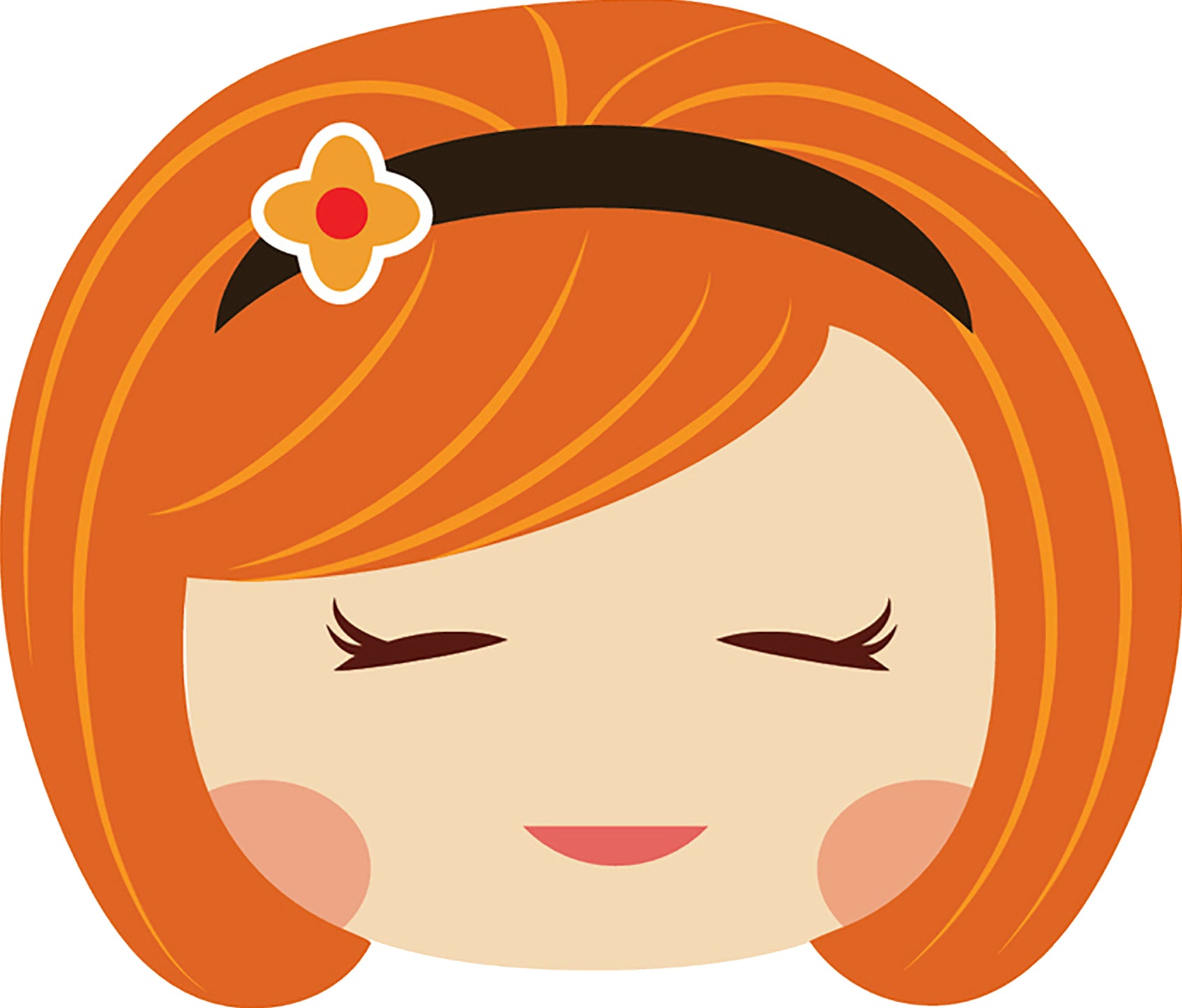 Sweet Little Red Head Kawaii School Girl Emoji #8 Vinyl Decal Sticker