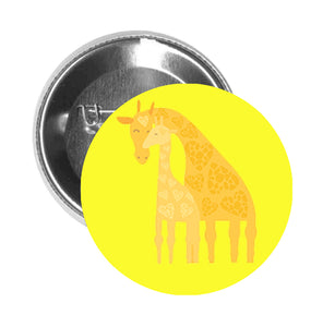 Round Pinback Button Pin Brooch Sweet Mother Father Child Baby Zoo Animals - Giraffe #1 - Yellow