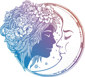 Sweet Pastel Ombre Boho Moon and Girl Cartoon Vinyl Decal Sticker