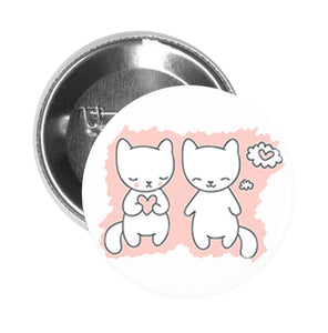 Round Pinback Button Pin Brooch Sweet Pink Kitty Cat Kitten Couple in Love