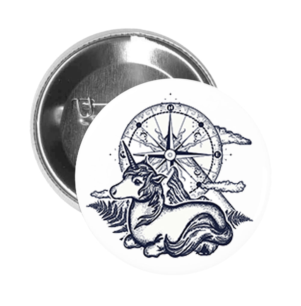 Round Pinback Button Pin Brooch Sweet Resting Unicorn with Nature Compass Cartoon Art