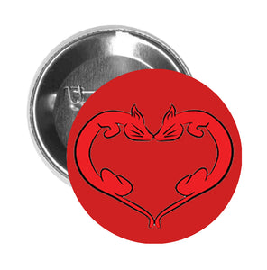 Round Pinback Button Pin Brooch Sweet Romantic Valentines Day Heart Cartoon Icon - Kitty Cat - Red