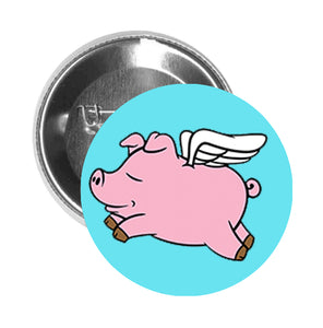 Round Pinback Button Pin Brooch Sweet Sleeping Flying Pigs with Angel Wings Cartoon Emoji - Light Blue