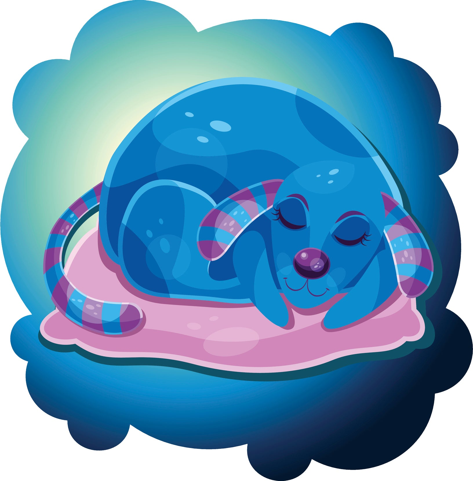 Sweet Sleeping Purple Blue Future Puppy Dog Cartoon Icon Vinyl Decal Sticker