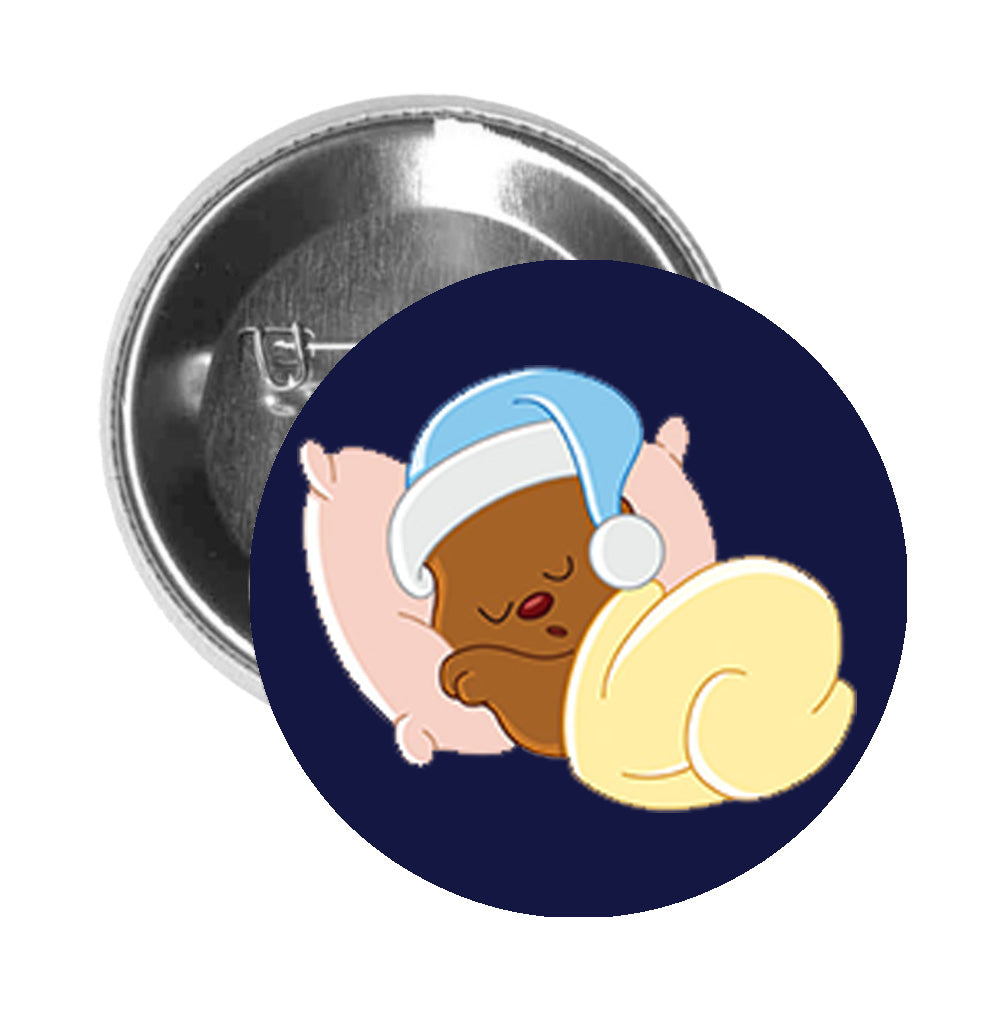 Round Pinback Button Pin Brooch Sweet Sleeping Teddy Bear Cartoon - Blue