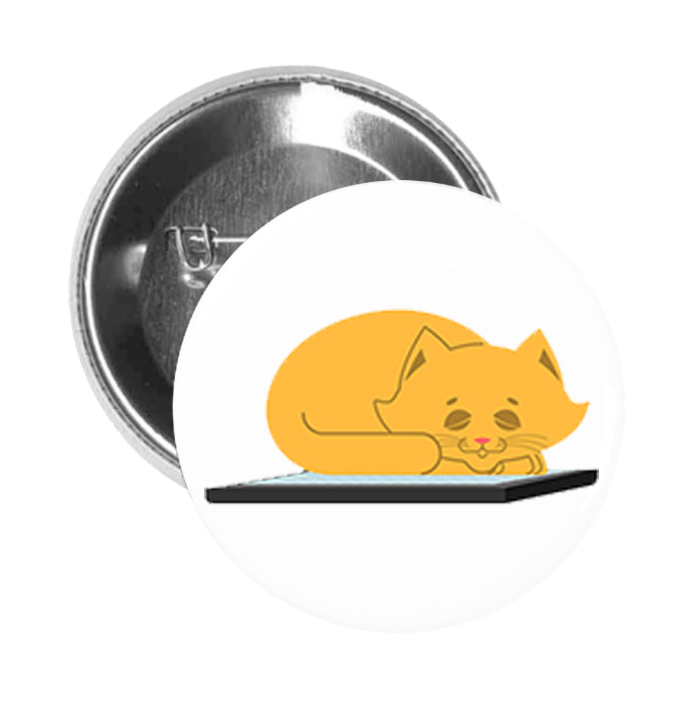 Round Pinback Button Pin Brooch Sweet Yellow Kitty Cat Sleeping on Phone Ipad Laptop Cartoon