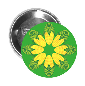 Round Pinback Button Pin Brooch Symmetric Corn Shaped Petal Flower Cartoon Icon - Green