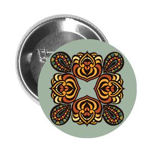 Round Pinback Button Pin Brooch Symmetric Orange Rose Icon - Sage