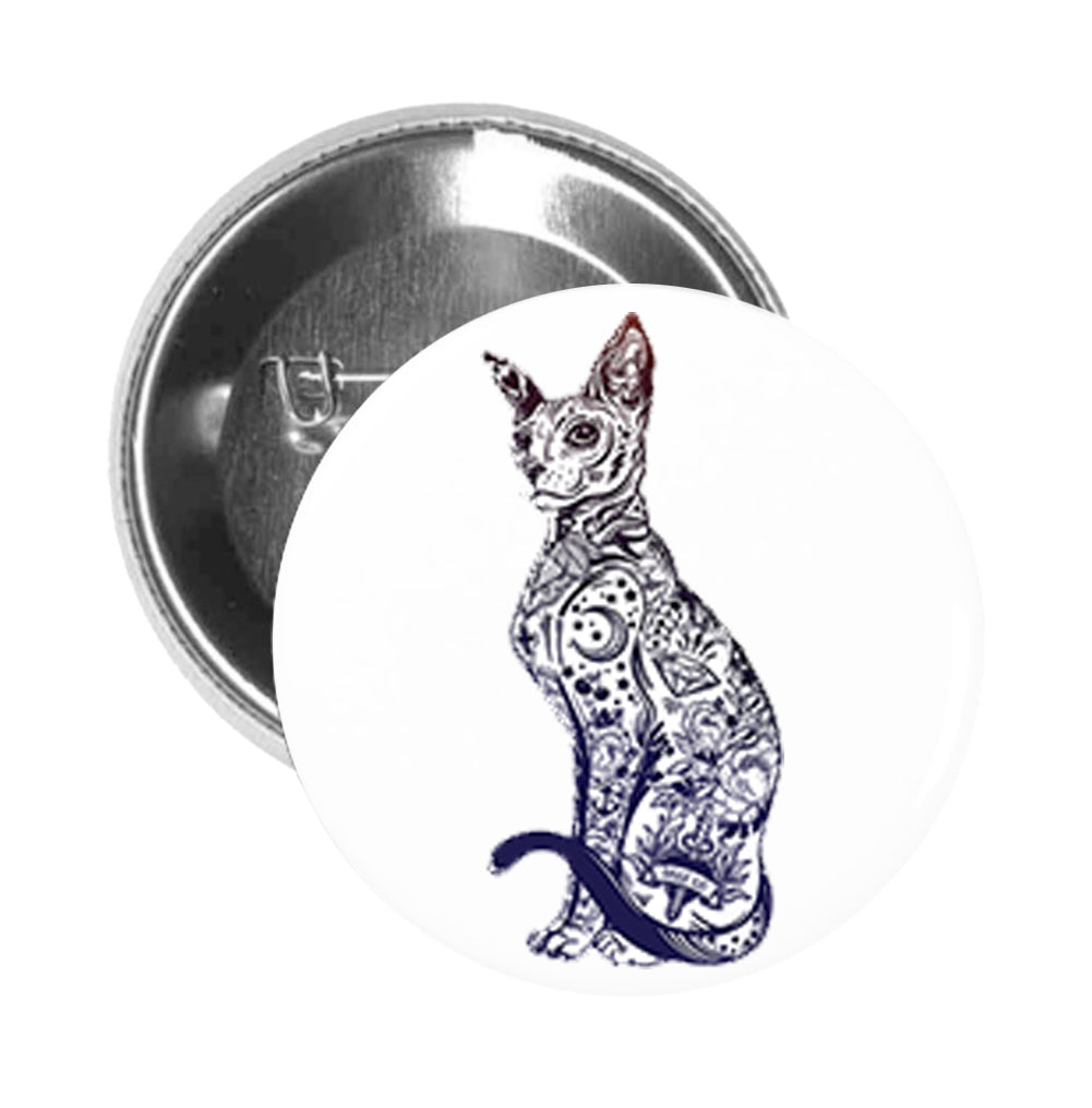 Round Pinback Button Pin Brooch Syphnx Kitty Cat Illustration Covered  In Tattoos #1- Black And White