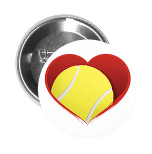 Round Pinback Button Pin Brooch TENNIS BALL IN HEART RED GREY BLACK GREEN YELLOW WHITE