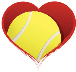 TENNIS BALL IN HEART RED GREY BLACK GREEN YELLOW WHITE Vinyl Decal Sticker