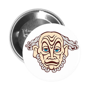 Round Pinback Button Pin Brooch THEATRE THEATRICAL MASK SOCRATES PEACH BLUE GREY BROWN WHITE