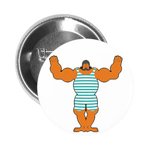 Round Pinback Button Pin Brooch Tan Muscular Mustache Man in Vintage Swimsuit Cartoon