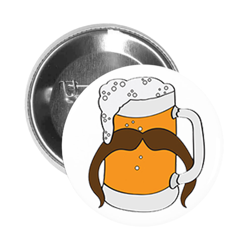 Round Pinback Button Pin Brooch Tankard Beer Glass with Horseshoe Mustache Manly Brewery Drink Funny Symbol Icon Cartoon
