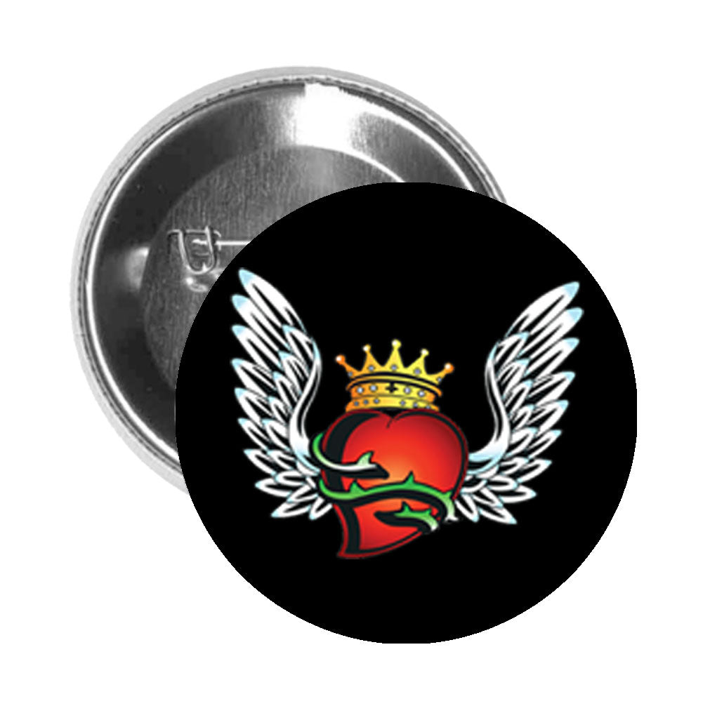 Round Pinback Button Pin Brooch Tattoo Style Old Skool Heart with Wings and Crown - Black