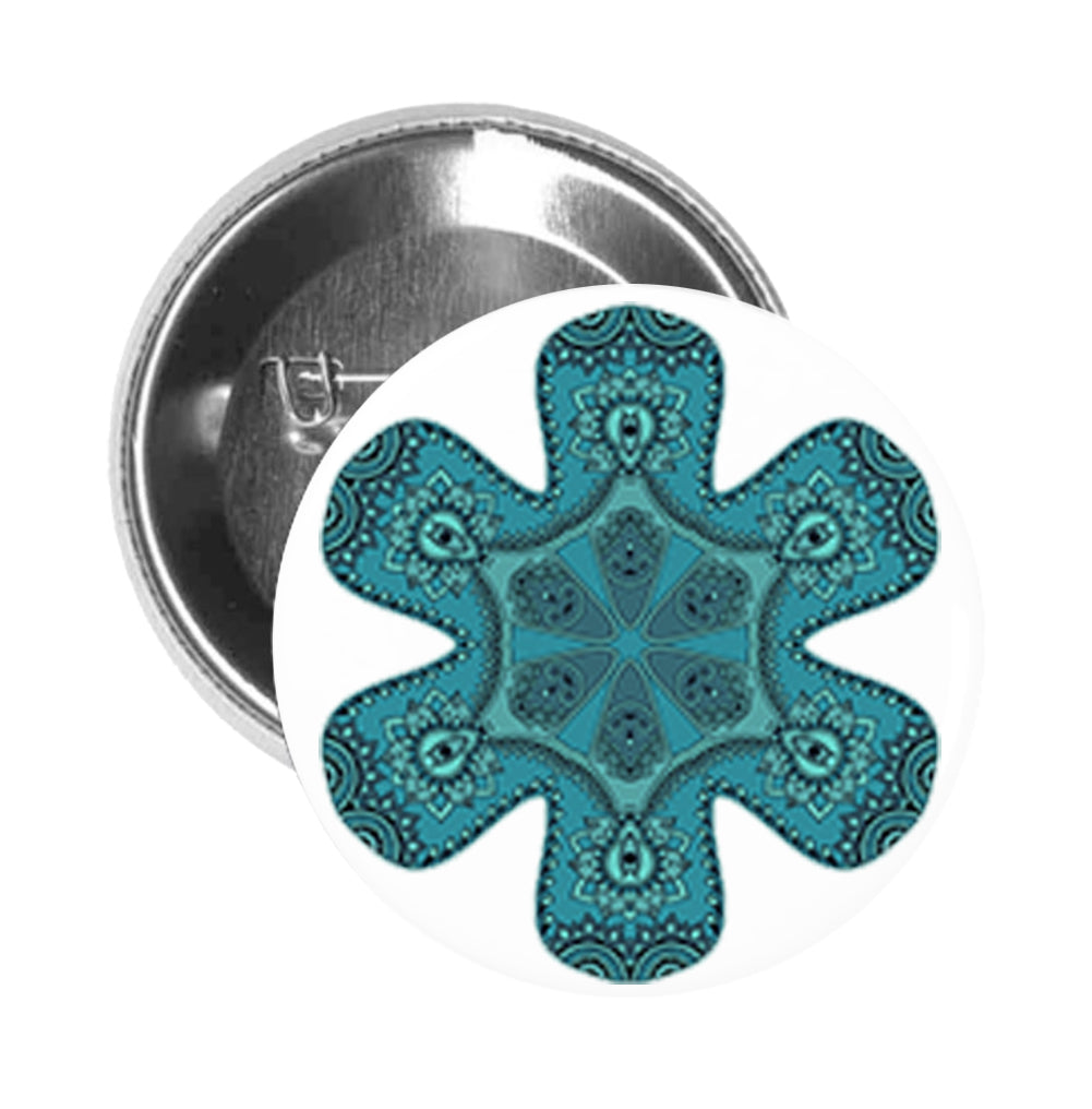 Round Pinback Button Pin Brooch Teal Blue Mandala Kaleidoscope Pattern Flower
