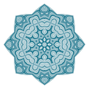 Teal Optical Illusion Psychedelic Flower Icon Vinyl Decal Sticker