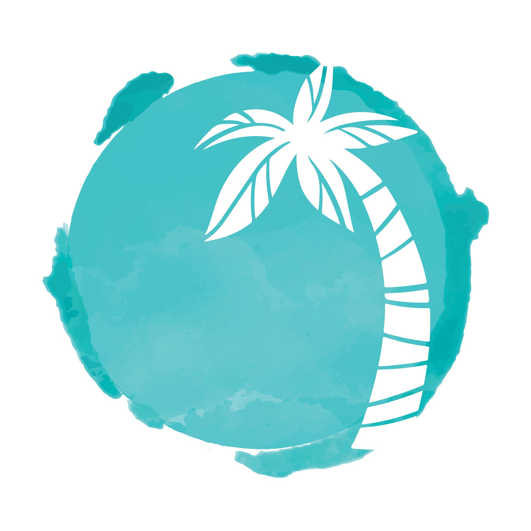 Teal Watercolor Paint with Tropical Palm Tree Silhouette Vinyl Decal Sticker