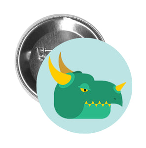 Round Pinback Button Pin Brooch Teal and Yellow Dinosaur Reptile Head Cartoon - Teal