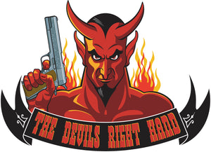 The Devil's Right Hand Red Evil Monster with Hand Gun Cartoon Vinyl Decal Sticker