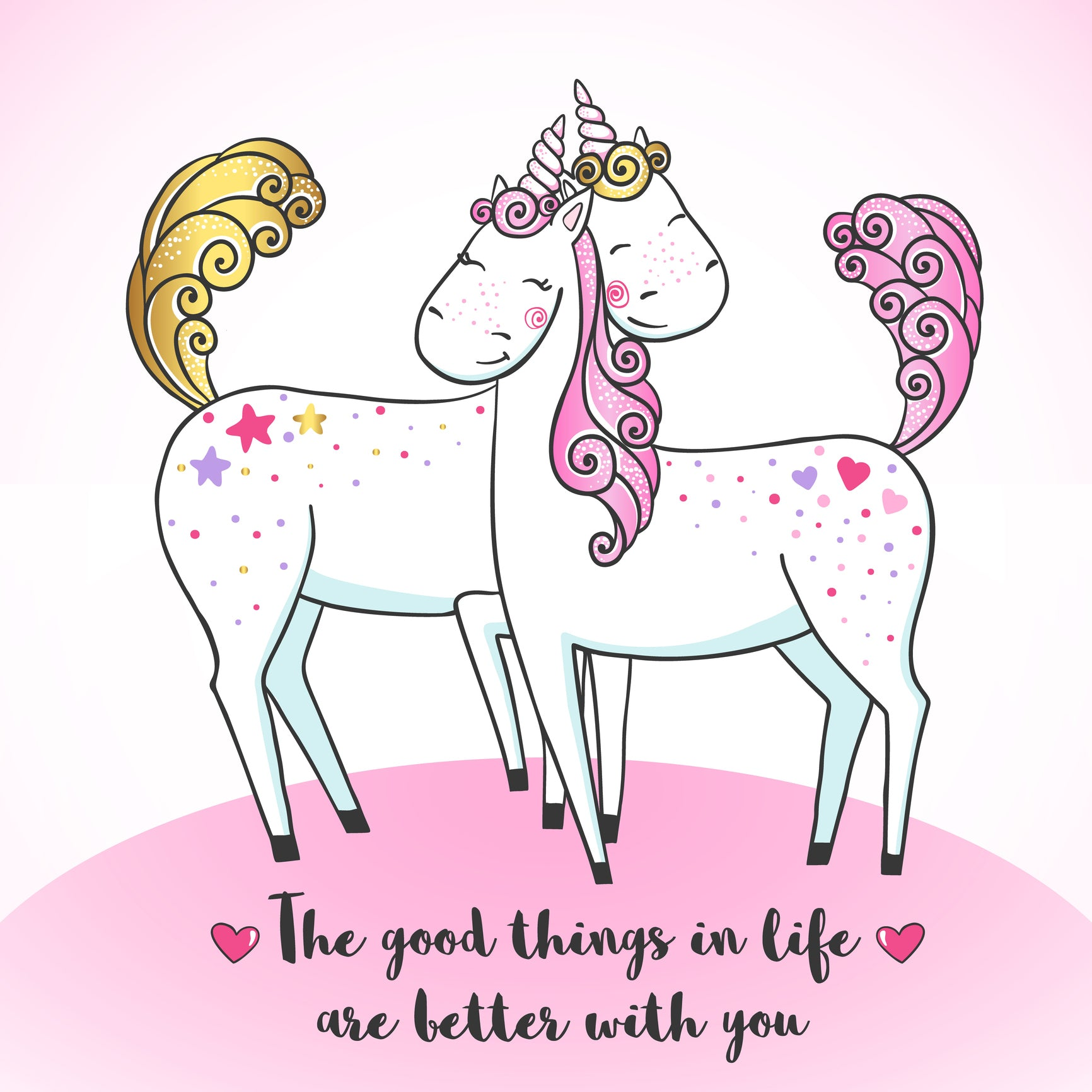 The Good Things in Life are Better with You Unicorn Best Friends Valentine Cartoon Icon Vinyl Decal Sticker
