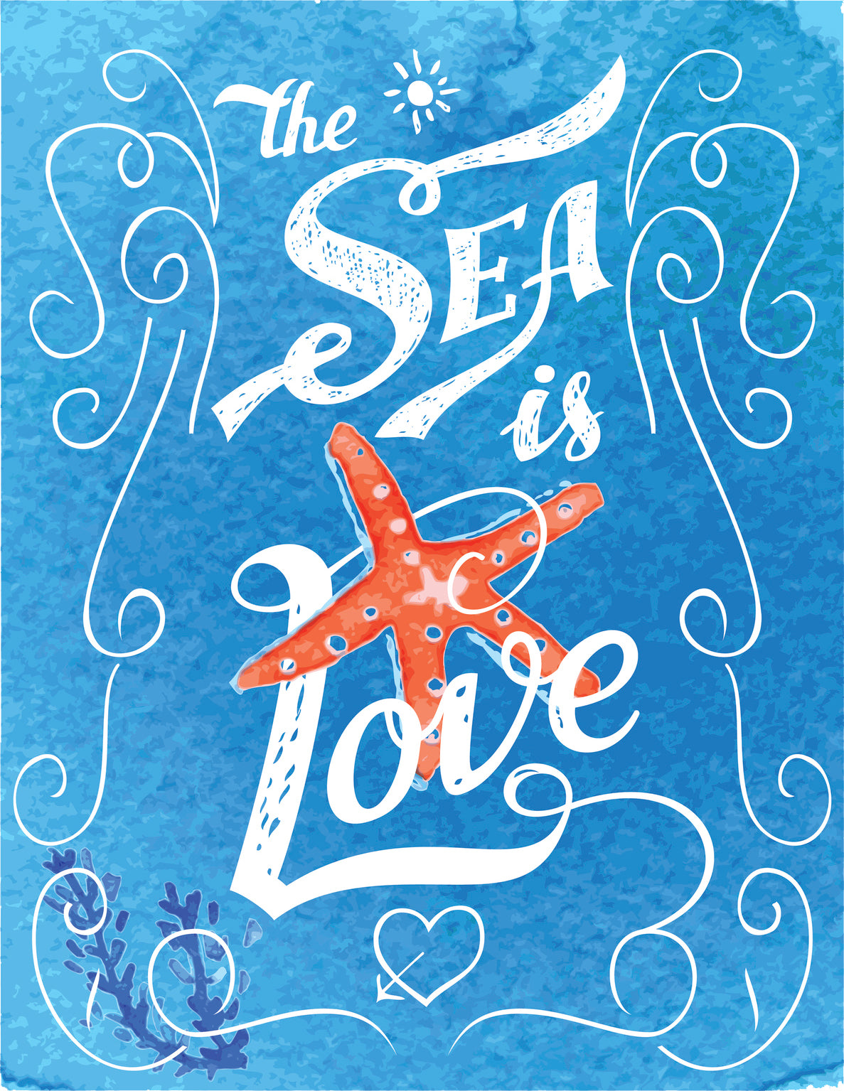 The Sea is Love Calligraphy Watercolor Paint Icon Vinyl Decal Sticker