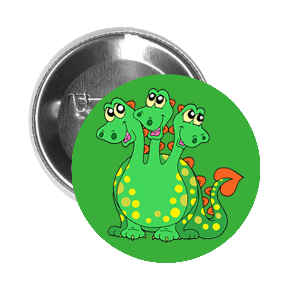 Round Pinback Button Pin Brooch Three Headed Green Dragon with Spots Magical Creature Cartoon- Green