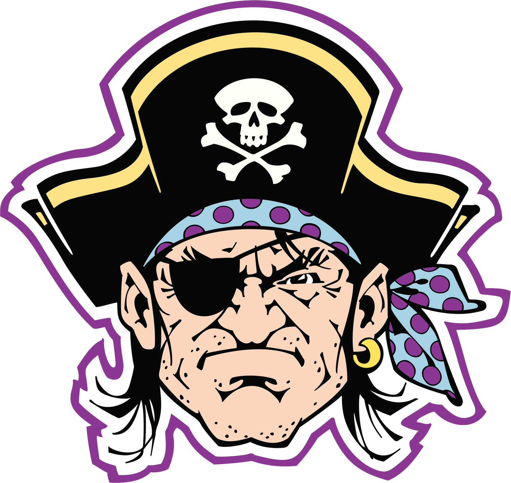 Tough Pirate Captain with Eye Patch Cartoon Vinyl Decal Sticker