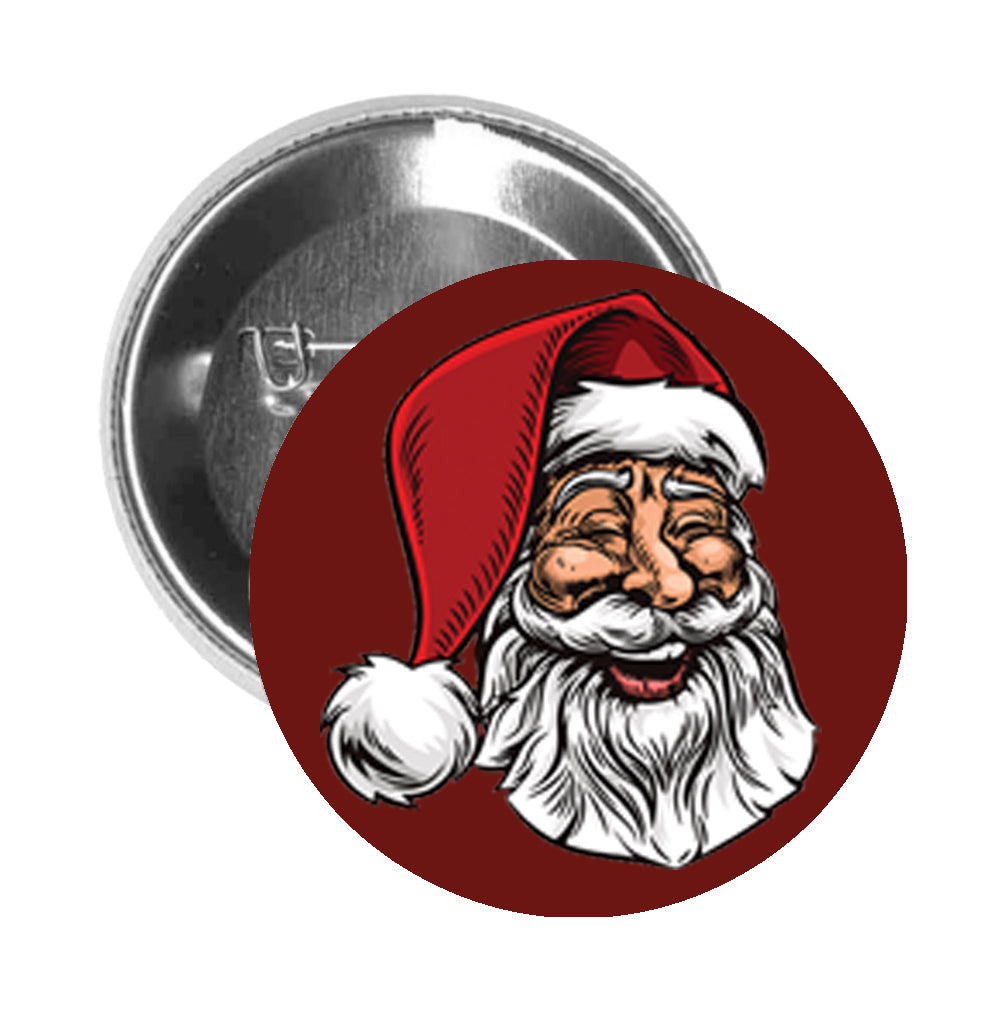 Round Pinback Button Pin Brooch Traditional Old Santa Claus Head Sketch Cartoon Drawing - Maroon