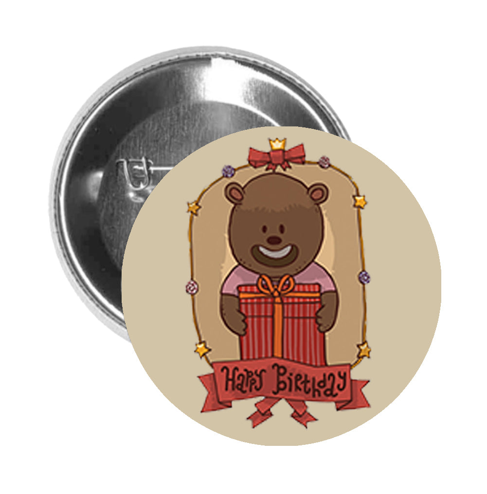Round Pinback Button Pin Brooch Traditional Retro Happy Birthday Animal Cartoon Icon - Bear - Beige