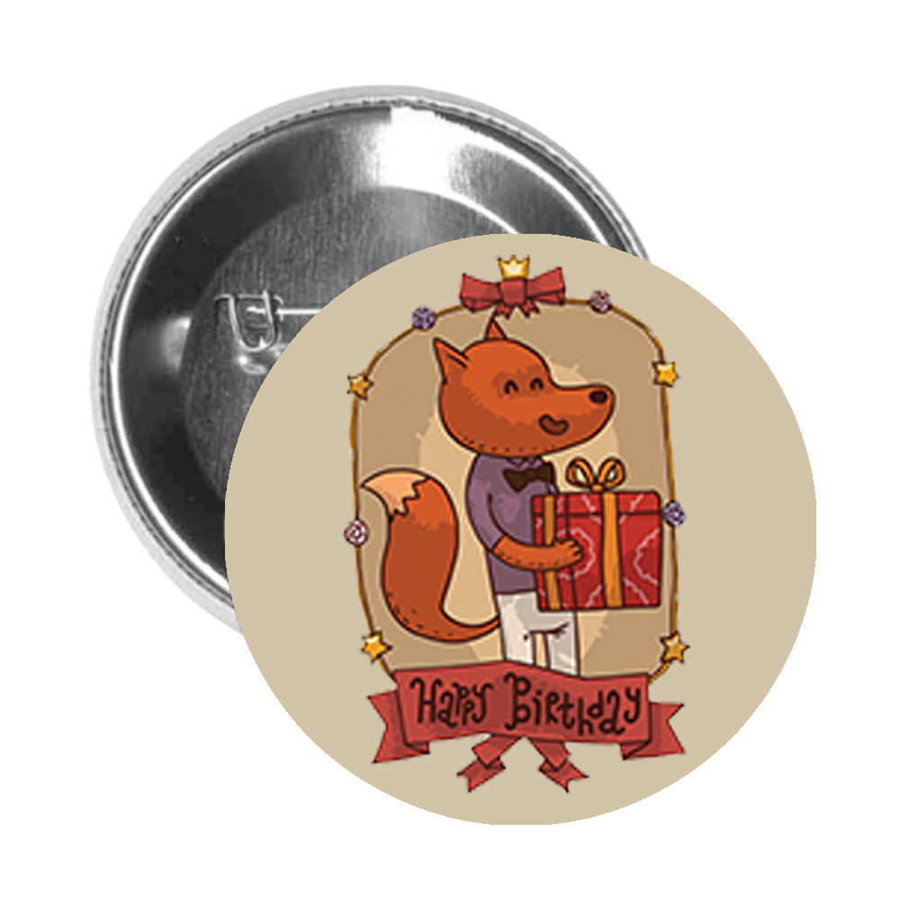 Round Pinback Button Pin Brooch Traditional Retro Happy Birthday Animal Cartoon Icon - Fox Man - Beige