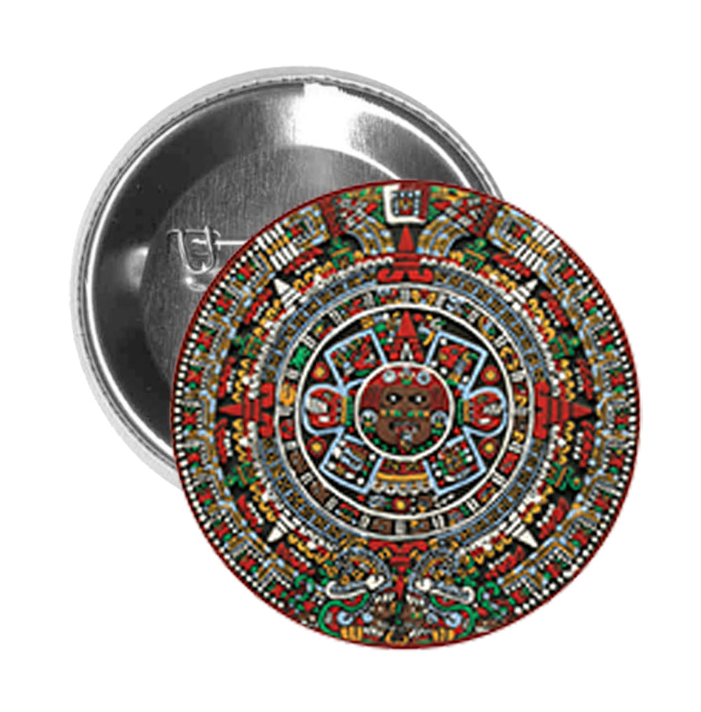Round Pinback Button Pin Brooch Tribal Aztec Stone Coin Icon
