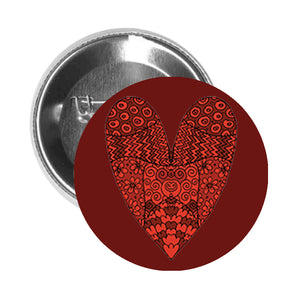 Round Pinback Button Pin Brooch Tribal Flower Patterned Red Heart - Maroon