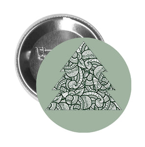 Round Pinback Button Pin Brooch Tribal Leaf Pattern Christmas Pine Tree - Sage
