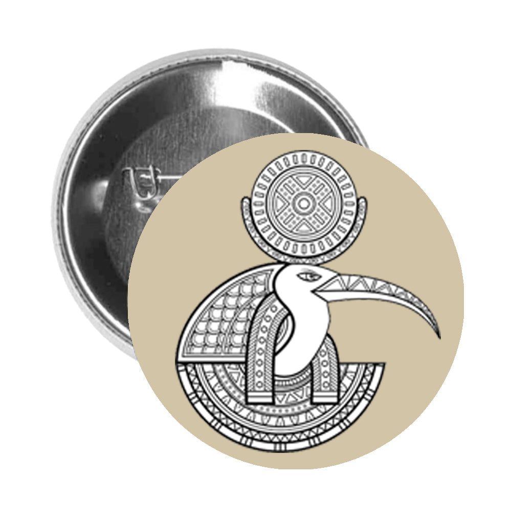 Round Pinback Button Pin Brooch Tribal Pattern Egyptian Bird Moon God Ibis Thoth - Beige