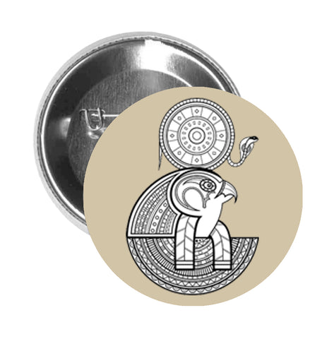 Round Pinback Button Pin Brooch Tribal Pattern Egyptian Falcon God Horus - Beige