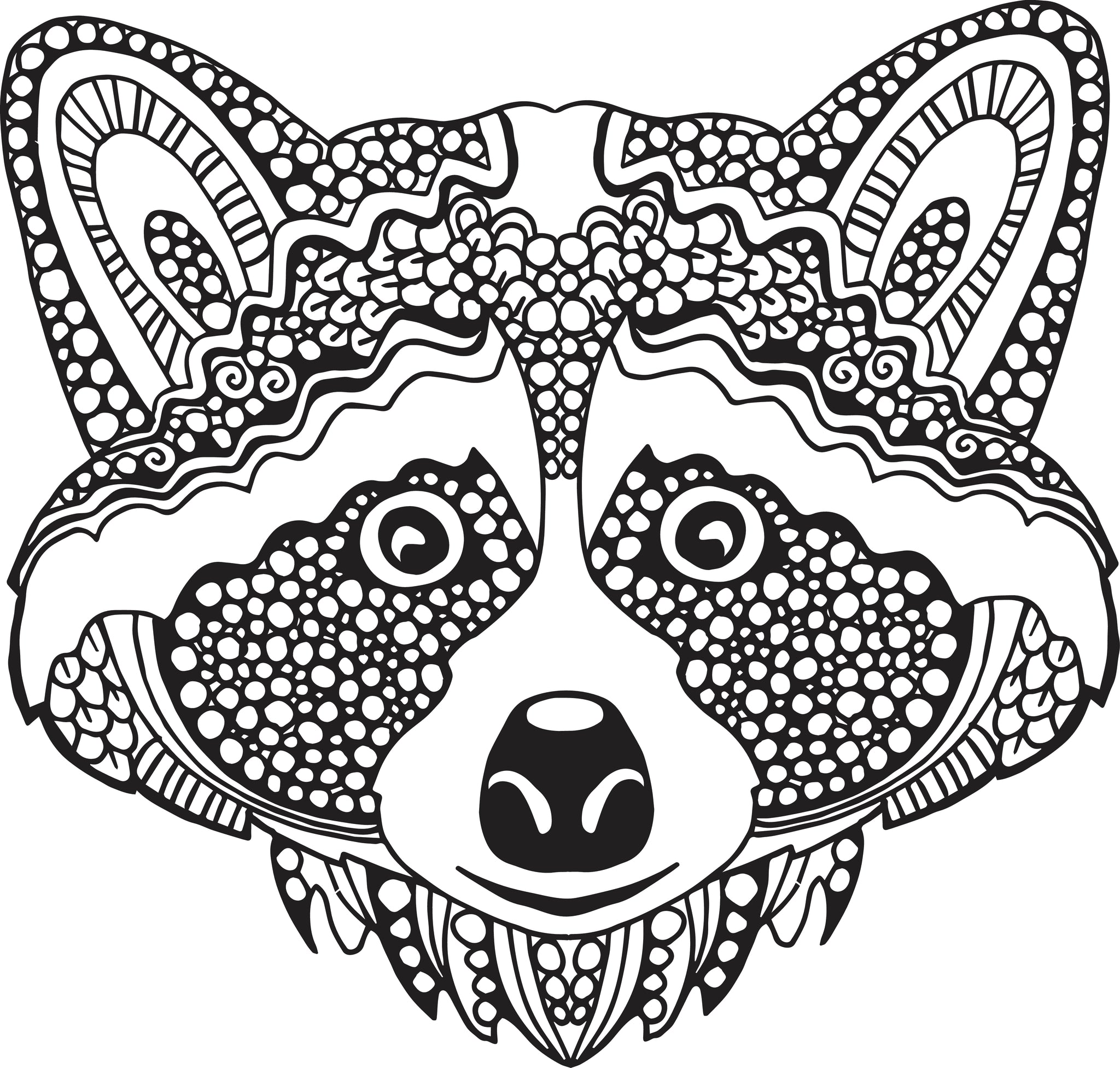 Tribal Pattern Racoon Face  Icon Vinyl Decal Sticker