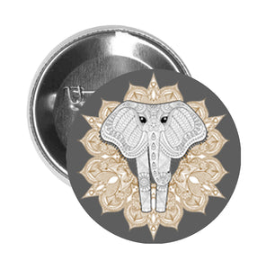 Round Pinback Button Pin Brooch Tribal Print Elephant with Big Eyes and Mandala Flower - Grey