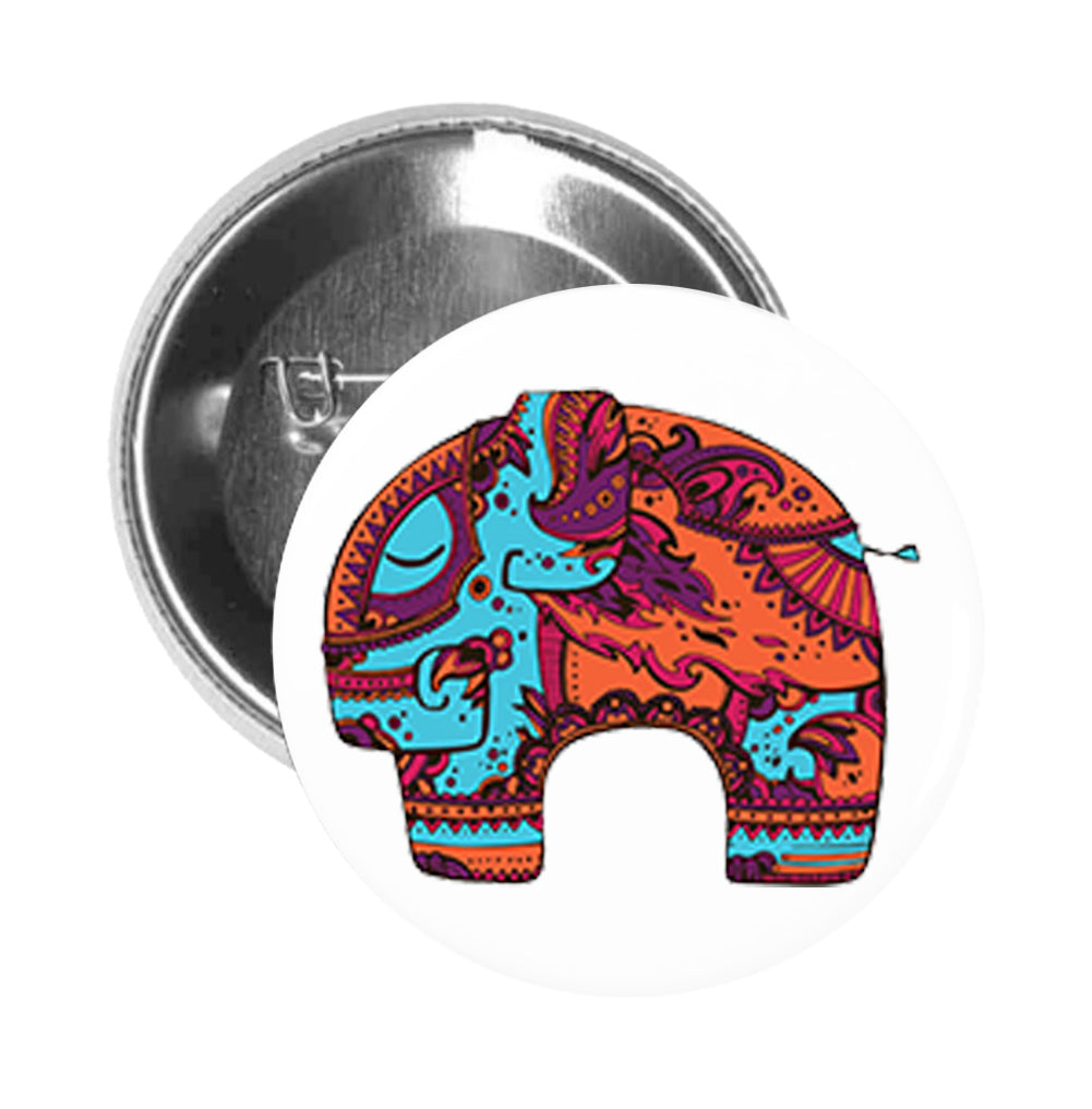 Round Pinback Button Pin Brooch Tribal Print Mandala Aqua and Orange Zen Elephant