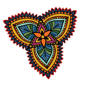 Tribal Print Rainbow Three Petal Flower 1 Vinyl Decal Sticker