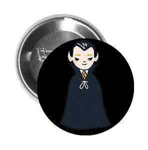 Round Pinback Button Pin Brooch Trick or Treat Creepy Vampire Dracula Boy - Boy - Black