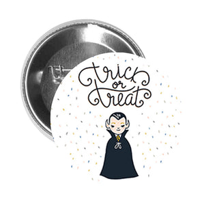 Round Pinback Button Pin Brooch Trick or Treat Creepy Vampire Dracula Boy - Icon