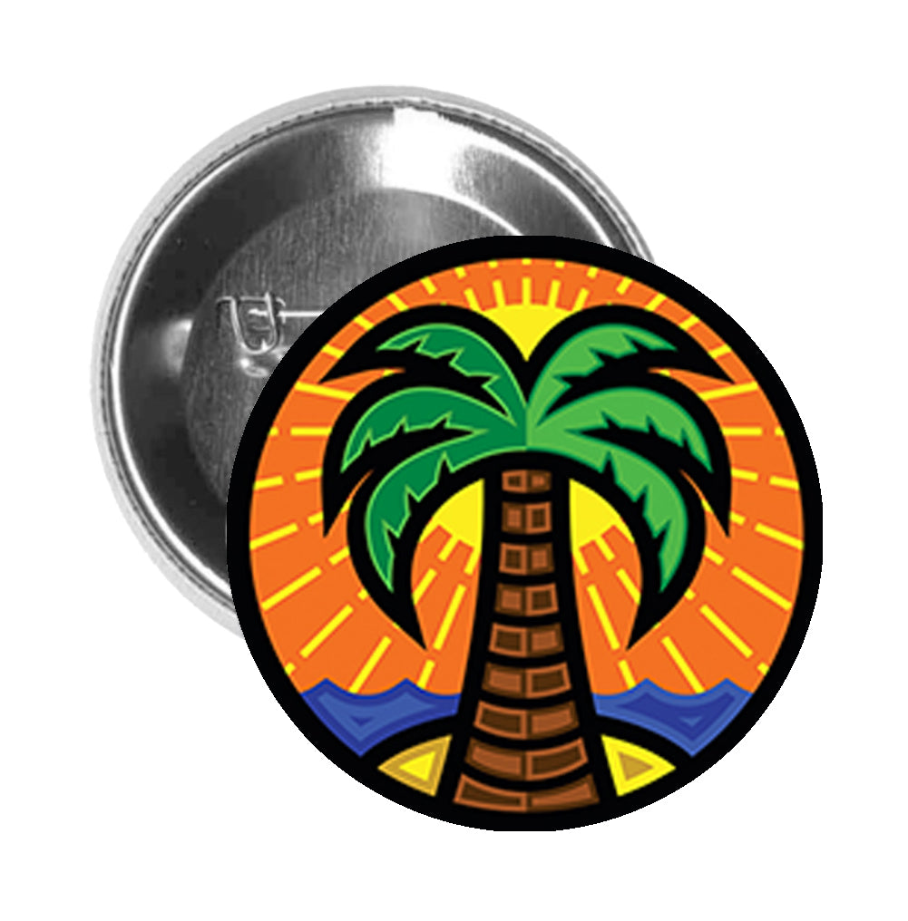 Round Pinback Button Pin Brooch Tropical Beach Sunset with Palm Tree